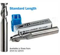 2 Flute Carbide End Mill For Aluminium - Standard Length - Uncoated