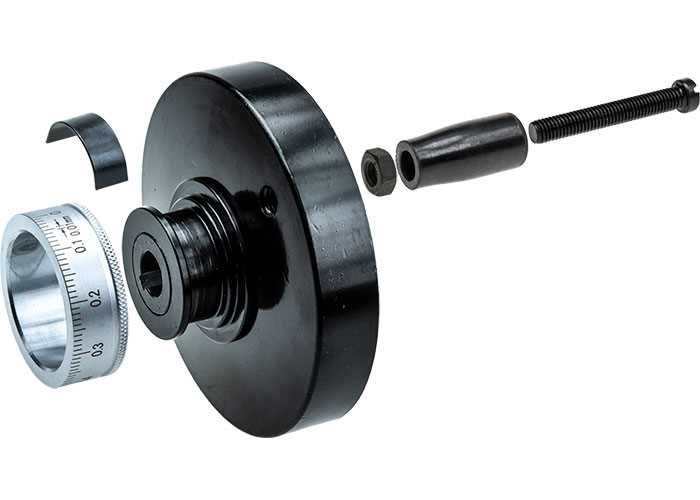 100mm Aluminium Handwheel Assembly with 100 Division Micrometer Dial