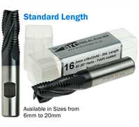 4 Flute HSS-AL Roughing End Mill - Standard Length - TiAlN Coated
