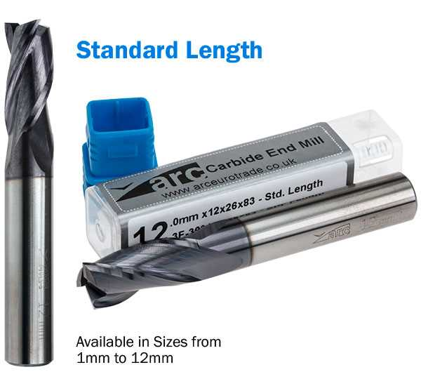 3 Flute Carbide End Mill - Standard Length - TiAlN Coated