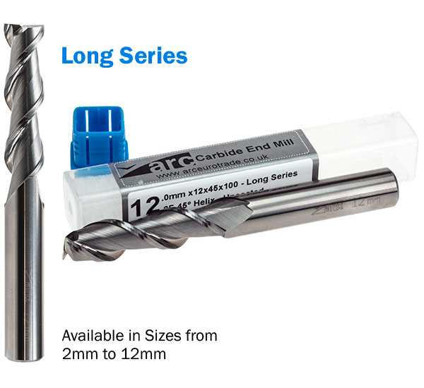 2 Flute Carbide End Mill For Aluminium - Long Series - Uncoated