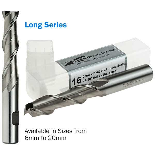 2 Flute HSS-AL End Mill For Aluminium - Long Series - Uncoated